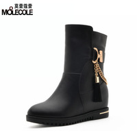 Winter invisible elevator thermal women's platform flat heel shoes thermal ankle boots martin boots x896-5