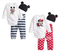 New 2013 cotton children Mickey Minnie baby boys girls clothes 3 pcs(Long-sleeved Romper+hat+pants)children clothing set