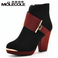 2013 autumn thick heel side zipper bow color block decoration boots women's high-heeled shoes fashion boots 788 - 1