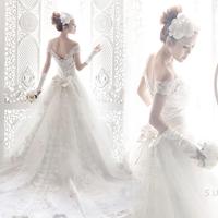 Lace tube top train wedding dress formal dress slit neckline new style 2014 bride bandage plus size train