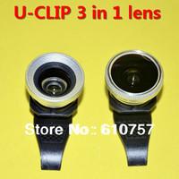 U Clip-on 0.67x Wide-Angle Macro Fisheye 3 in 1 lens Camera for iPhone 4s 5 5c 5s iPad 2 3 Mini,Christmas Gift,50 pcs/lot