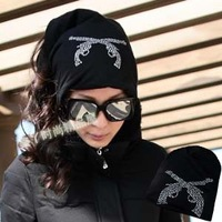 General double rhinestones rhinestone turban cap covering toe cap hat hair band muffler scarf multi-purpose hat