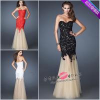 Tube top red formal dress bridal evening dress fish tail evening dress long design formal dress costume/209