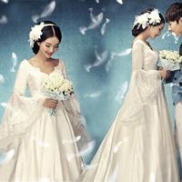 Princess bride wedding dress formal dress 2014 married maternity winter long-sleeve slit neckline/228