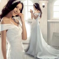Sweet princess bride slit neckline train wedding dress formal dress 2014 maternity wedding dress formal dress/216