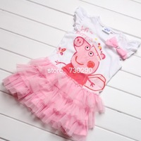 Retail peppa pig clothing baby girls summer dress children girls tutu lace dress christmas rose fashion girls peppa dress