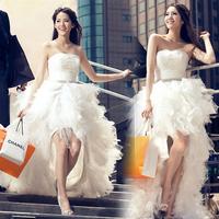 Low-high princess wedding dress tube top plus size formal dress bride 2014 train/198