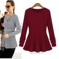 2013 autumn slim medium-long long-sleeve knitted sweater basic shirt women's sweater dress