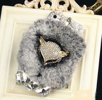 Exclusive sales Luxury Real Rabbit fur diamond hard cover case for iphone 5s Retail Top quality Free shipping with retail box