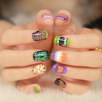 6series  New Girls Japan Harajuku Nail Art patch false Nail Eye Cross Teeth Star angel bird flower pattern Freeshipping
