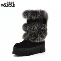 Flat heel platform women's platform shoes gaotong snow boots winter thermal 880 rabbit fur boots