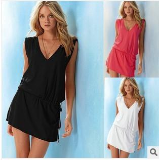 2014 new fashion solid Bikini dress, holiday Beach dress casual dress free shipping swimwear wholesale and retail(China (Mainland))
