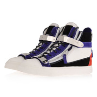 2014-5 Hotting style  Fun with colour in these high-top sneakers in calf leather and suedewith side zips and double metal plaq