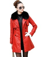 Autumn Winter New Arrival 2014 Women Medium-long Leather Clothing . Plus Size Thickening Female leather Trench Outerwear