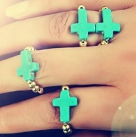 Popular Simple Turquoise Cross Elastic Finger Ring Adjustable Jewelry For Gift Free Shipping 20 Pcs/lot