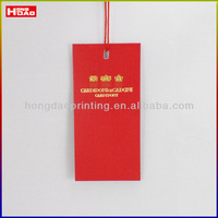 thickness red cardborad hangtags and labels custom