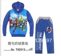 Retail-hot new baby kids boys Major League Avengers Hulk Fleece Hooded suit, hooded+pants 2 pieces set,children Cartoon clothes
