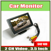 "Hot sale!!! 3.5"" Digital Color TFT 16:9 LCD Car Reverse Monitor with 2 Bracket holder for Rearview Camera DVD VCR"