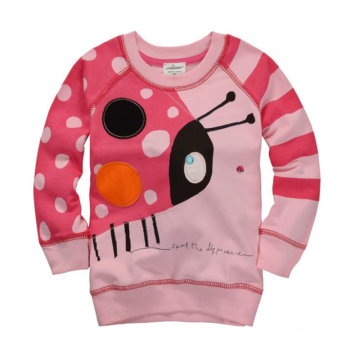 1pc retail 1-6T girls pink ladybug sweatshirts baby animal jacket kids dot striped t-shirts(China (Mainland))