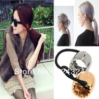 12pcs High Quality Silver Gold Metal Hair Elastic ring Accessories Ponytail Band New Hot Selling