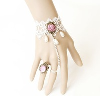 Complex Gulei Si ring white Siamese-style bracelet with inlaid flower ornaments free shipping