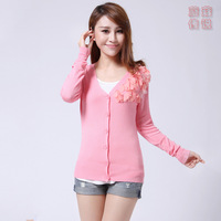 Autumn shoulder flower petals solid color slim sweater cardigan 2013 female thin outerwear