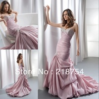 Elegant Sweetheart Mermaid Pink Taffeta Beaded Floor Length Fashion New Prom DResses Formal Evening Gowns 2013 Arrival