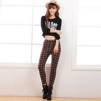 Plaid women's legging plus velvet thickening autumn and winter female trousers plus size