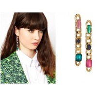 E385  Hot 2014 New European And American Fashion Big Long Exaggerated Color Stone Earrings Jewelry