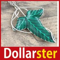 excellent [Dollar Ster] Lord of The  Green Leaf Elven Pin Brooch Pendant With Chain Necklace 24 hours dispatch big discount
