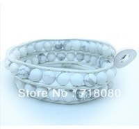 Europe style 2 wraps bracelets leather treaty bracelets white turquoise leather bracelet free shipping