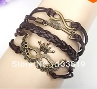 Free Shipping New Christmas Gifts Halloween Party Mask Multi Bracelet,Vintage Infinity 8 words Woven Leather Bangles Bracelets