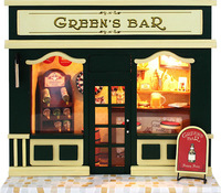 Dollhouse Miniature Kit With Light Store Green's Bar NIB Europe Store Building With Tools