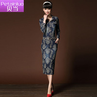 Petainluo 2013 turn-down collar long-sleeve medium-long denim one-piece dress female denim skirt