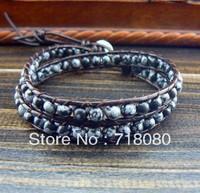 Promotion sell 2 wrap bracelet Snowflake Obsidian bead wrap bracelet leather bracelet for men and women free shipping