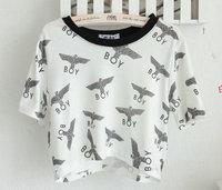 2013 summer stree Fashion youth clothing harajuku white boy Eagleprint cross short design Tee shirt cheap crop tops t shirt