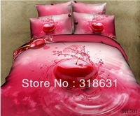 New Listing 4 or 5Piece Tempting Red Cherry Printed Home Bedding Bed In A Bag for Full Queen Bed Cotton Oil Painting Style