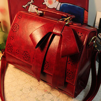 2013 fashion shaping bag bow bags red vintage Wine women's handbag cutout messenger bag