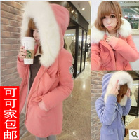 New 2013 Winter Jacket Coat Women Female Thick Fur Collar Hooded Outerwear Parka Light Blue & Pink Color Parkas