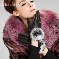 Autumn and winter fashion women's thickening thermal plus velvet waterproof sheepskin rex rabbit hair genuine leather gloves