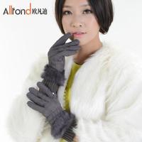 Winter rabbit fur women's thickening thermal gloves fashion lengthen plus velvet down gloves thick