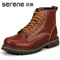 First layer of cowhide snow boots trend genuine leather hasp thermal tooling boots men's cotton boots casual boots