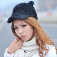 Young girl women's baseball cap demon the cat rabbit fur hat ears m609