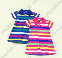 Brand 2013 Children Polo Dress New Summer 2013 Infant/Baby Girls Brand Polo Dress Striped Children/Kids Princess tennis Dress