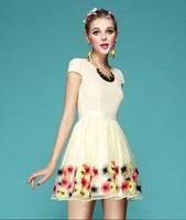 High Quality Fashion flowers embroidered organza short sleeve V-neck chiffon dress