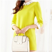 European Style crystal peter pan collar Slim long-sleeved dress yellow and pink 2 colors S-XL
