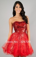 2014 brand new red sequins animal print Short tulle prom dress corset damas dress free shipping