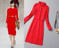 European Style Long-sleeved dress lapel collar with epaulet pencil dresses gift belf