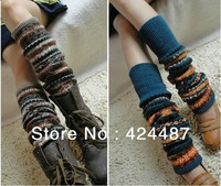 New 2013 winter wool knitted leggings camouflage thickening girls' leg warmers, Christmas gifts, womens gaiters for boot covers
