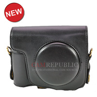 CamRepublic TM--  Leather camera case bag pouch for POWERSHOT SX170 (Black)